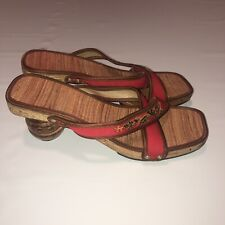 Unique red sandals round heels chunk wooden heel 7.5 Handmade Gipsy Boho Foreign