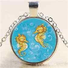 Gold Sea Horse  Cabochon Glass Tibet Silver Chain Pendant Necklace
