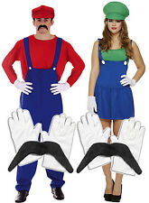 Mens Mario + Ladies Luigi Couples 80s Fancy Dress Costume + Gloves + Moustache