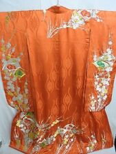 BRIDAL Orange Silk Japanese KAKESHITA KIMONO w/Emb SENSU E485