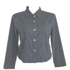 Chicos Design 3 XL Jacket Linen Blend Charcoal Gray Black Lightweight Pocket LN