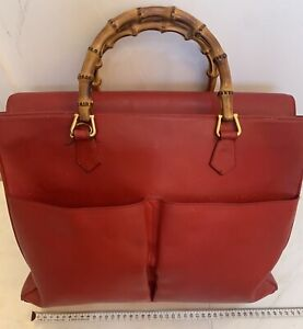 GUCCI  Bamboo Shopper Red Leather Tote Large