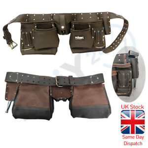 Rolson Leather Tool Pouch 10 Pocket Oil Tan Double Tool Belt