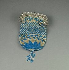 Antique Early 19th Century Beaded Purse Silver Plated Frame Beadwork  Circa 1820