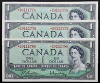 1954 Bank Of Canada 1$ Set of 3 Consecutives Replacement *B/M Prefix BC-37bA-i