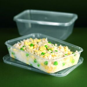 Plastic Microwave Containers & Lids 500cc x 50 Takeaway Food