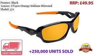 RayZor Sports Wrap Sunglasses Black Framed Uv400 Orange Mirrored Lens RRP£49