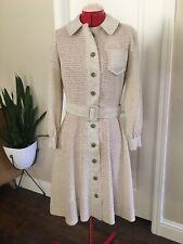Vintage 60's/70's Dalton Tan Knit Crochet Button Up Dress Jacket sz Medium