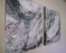 Original Contemporary Painting, oil on canvass, diptych, White and Grey