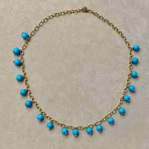 """10K Yellow Gold Over Sleeping Beauty Turquoise Bead 18"""" Necklace For Women's"""