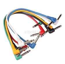Set 6 Paquete Enchufe en ángulo lleva cables Parche para efecto de Guitarra Pedal codificadas por color