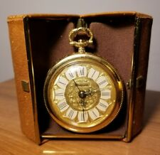 Beautiful Vintage Gold Tone Sheffield Alarm Pocket Watch - In Case!