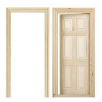 1/12 Puppenhaus Miniatur 6 Panel Innen Holztuer DIY Holz Farbe R3F3) 2I