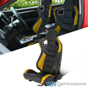 Driver Side Black/Yellow PVC Leather Carbon Fiber Look Racing Seat Left+Sliders