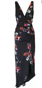 Women's New With Tags NICHOLAS SILK FLORAL DRAPE FRINT DRESS Size 8 Rrp $698