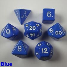 Opaque Poly 7 Dice RPG Set Blue Pathfinder 5e Dungeons Dragons D&D Role Play HD