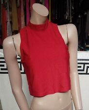 Atmosphere Size 12 Red  Polo Neck Sleeveless Top Stretch Cropped Pattern