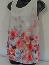 Next size 14 petite white floral applique pattern sequin sleeveless top used 1