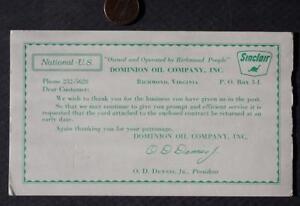 1960s Era Richmond Virginia Sinclair Gas & Oil Dinosaur logo ink blotter-SCARCE!