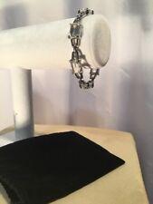Signed Swarovski Cut Faceted Crystal Rhodium Bracelet Retired Rare