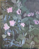 Brigitte Tietze Berlin Peinture À L'Huile Nature Morte Fleurs Rose Expressiver
