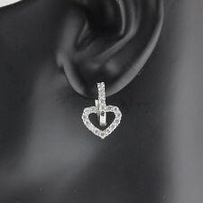 Womens 925 Sterling Silver CZ Micro Pave Heart Hoop Earrings