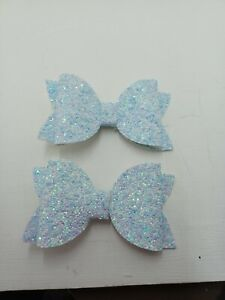 2 glitter Hairbows baby blue