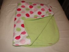 Carters Just One You Minky & Sherpa Baby Blanket Green Pink White Polka Dot