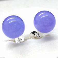 Fashion Natural 10mm Lavender Jade Round Beads Silver Stud Earrings
