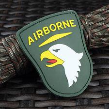 PVC Morale Patch - AIRBORNE EAGLE ARMY Emblem Shield - White on Green PVC