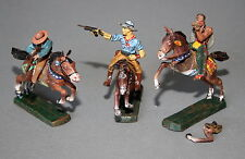 3 alte Elastolin Massefiguren Indianer Reiter Wildwest 7,5 cm # 440