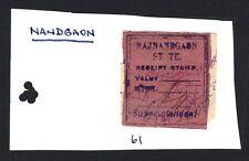 India Nandgaon State receipt stamp