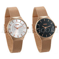 Women's Charm Rose Gold Tone Stainless Steel Mesh Band Analog Quartz Wrist Watch