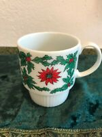 """Vintage Christmas Poinsettia Holly Stackable Coffee Cup Mug Japan Ceramic 3.25"""""""