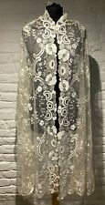More details for antique cream silk lace wedding shawl - very pretty   (13)
