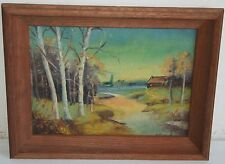 Old American Landscape Oil Painting Cottage & White Tree