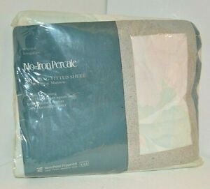 KING Size Pastel SHEET 180 TC No-Iron Percale West Point Pepperell IRREGULAR