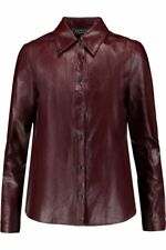 $800 Rag & bone Faye Leather Shirt JACKET COW LEATHER BURGUNDY BROWN SIZE S NICE