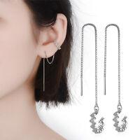 Ohrringe, 925 Silber, Durchzieher, Ohrklemme, Manschette, Strass, Welle, Neu