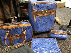 SAMANTHA BROWN 4 Piece Cabin Bag & Tote Set Blue & Brown Croc Embossed