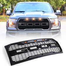 Fit For 09-14 Ford F150 New Raptor Style Front Bumper Hood Grill Grille w/LED