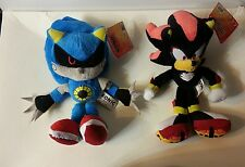 """Sonic the Hedgehog Lot of (2) - 7.5"""" Plushes Classic Metal Sonic and Shadow"""