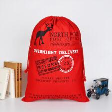 50x70cm Canvas Hessian Christmas Santa Sack Xmas Stocking Reindeer Kids Gift Bag