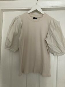 WHO WHAT WEAR Beige Ribbed Top With Puff Sleeves SIZE M Medium