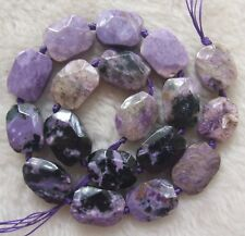 13x18mm Natural Purple Charoite Faceted Freeform Loose Beads 15.5""