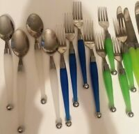 Cambridge stainless flatware silverware  blue green white vtg. 20 piece set