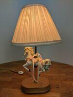 Vintage Ceramic Carousel Blue / Pink / White Horse Small Lamp Wood Base