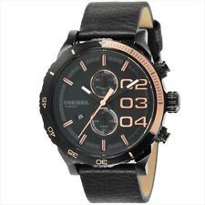 Diesel DZ4327 Double Down Black Leather Band Rose Gold Accents  Men's Watch
