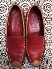NAOT WOMENS RED AND BROWN LEATHER LOAFERS MADE IN SPAIN SIZE EU 37,US 6-6.5