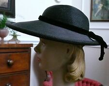 Coralie Designer New Look Late 1940`s Black Straw Picture Hat